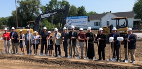 Catholic Charities of Terre Haute Foodbank groundbreaking with Keymark.